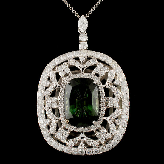 18K Gold 15.19ct Tourmaline & 4.32ctw Diamond Pend