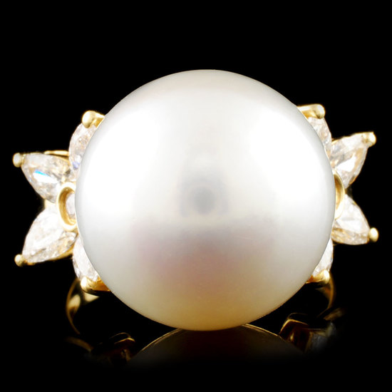 18K Gold 16.00MM Pearl & 1.24ctw Diamond Ring