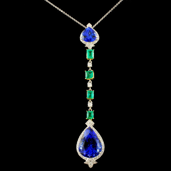 18K Gold 14.92ct Tanzanite & 0.65ctw Diamond Penda