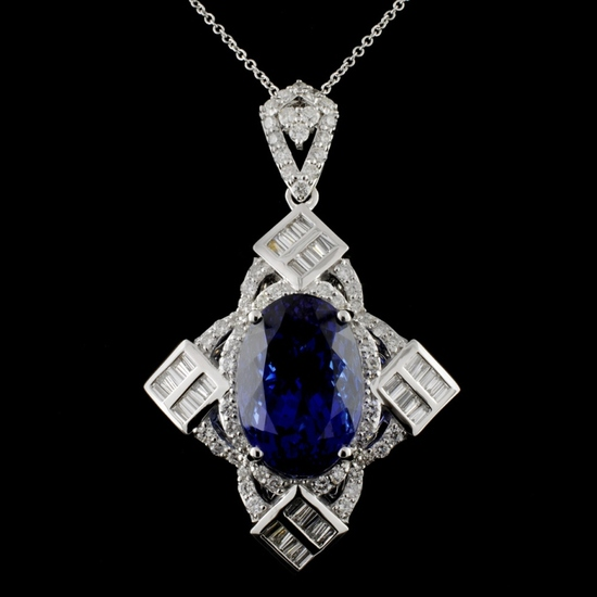 18K White Gold 12.43ct Tanzanite & 1.67ct Diamond