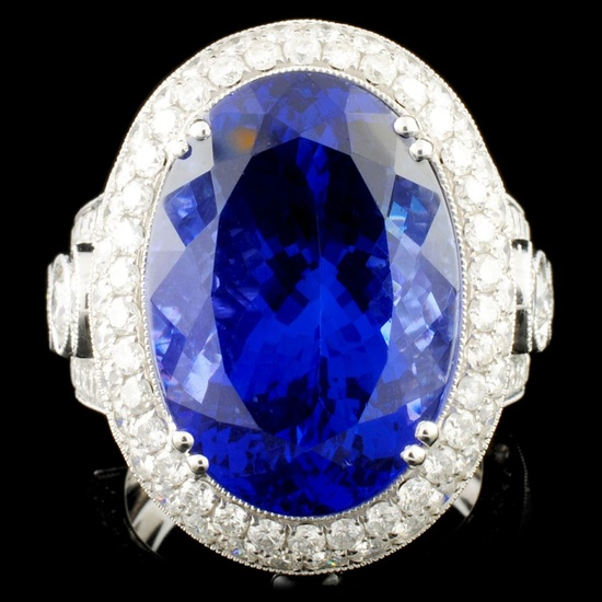 18K Gold 17.41ct Tanzanite & 3.68ctw Diamond Ring