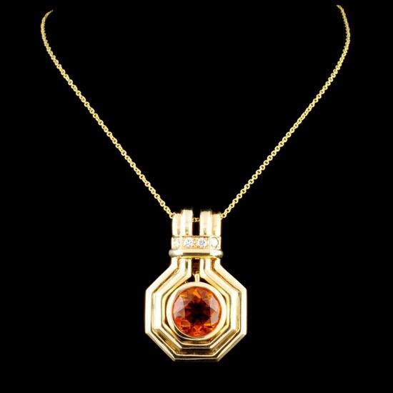 14K Gold 2.50ct Citrine & 0.12ctw Diamond Pendant