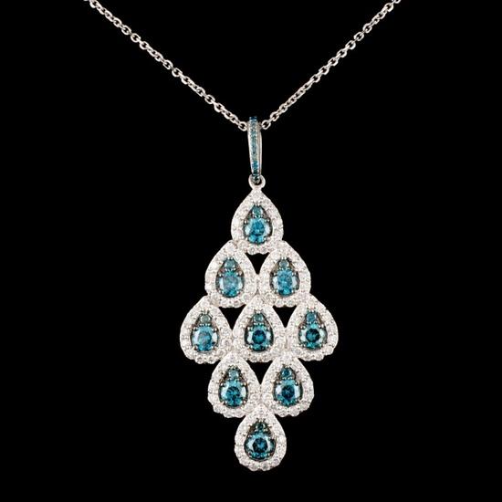 14K Gold 2.36ctw Fancy Color Diamond Pendant