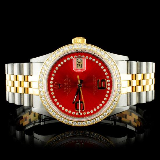 Rolex YG/SS 36MM DateJust Diamond Watch