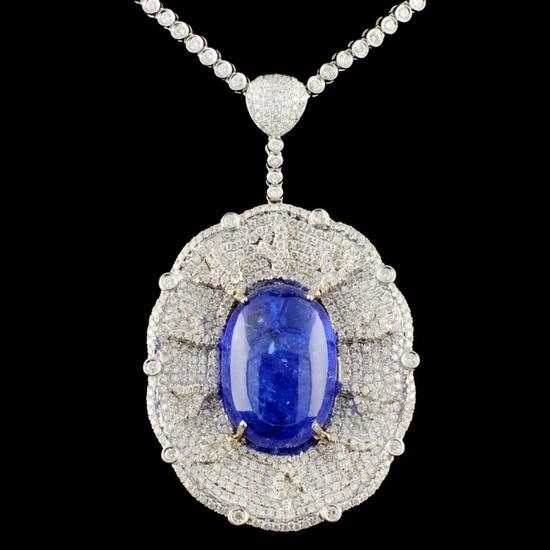18K Gold 42.92ct Tanzanite & 7.97 Diamond Necklace
