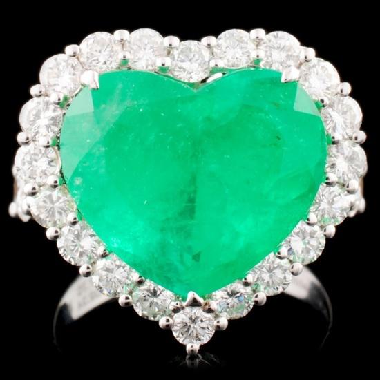 18K Gold 7.70ct Emerald & 2.24ctw Diamond Ring