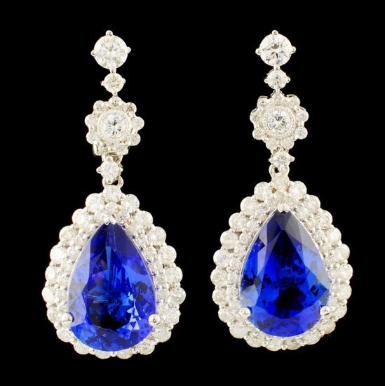 18K Gold 7.97ct Tanzanite & 2.27ct Diamond Earring