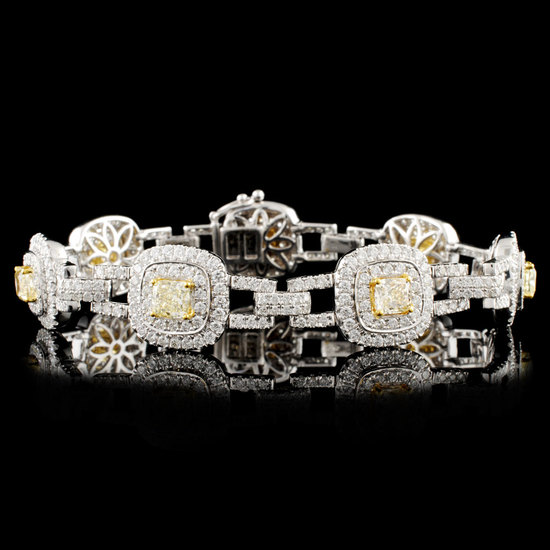 18K Gold 7.88ctw Fancy Diamond Bracelet