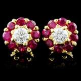 18K Yellow Gold 1.30ct Ruby & 0.49ct Diamond Earri