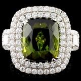 18K Gold 7.68ct Tourmaline & 1.87ctw Diamond Ring