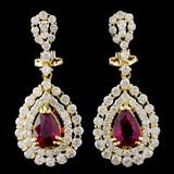 18K Gold 2.02ct Ruby & 2.76ctw Diamond Earrings
