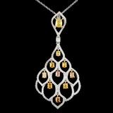 18K Gold 2.16ctw Fancy Diamond Pendant