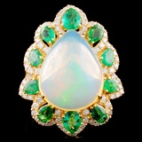 18K Gold 7.29ct Opal & 0.58ctw Diamond Ring