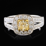 18K White Gold 1.16ctw Fancy Yellow Diamond Ring