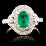 18k White Gold 0.93ct Emerald & 0.82ctw Diamond Ri