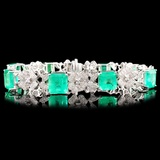 18K Gold 17.70ct Emerald & 2.16ctw Diamond Bracele