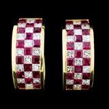 18K Gold 2.20ct Ruby & 1.41ct Diamond Earrings