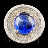 18K Gold 7.96ct Tanzanite & 1.20ctw Diamond Ring