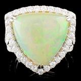 18K Gold 9.32ct Opal & 1.25ctw Diamond Ring