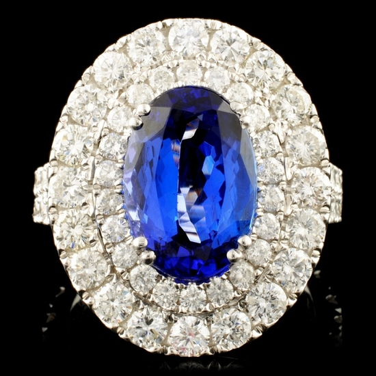 18K Gold 4.02ct Tanzanite & 2.57ctw Diamond Ring