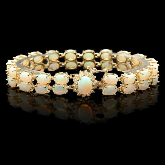 14k Gold 14.00ct Opal & 0.50ct Diamond Bracelet
