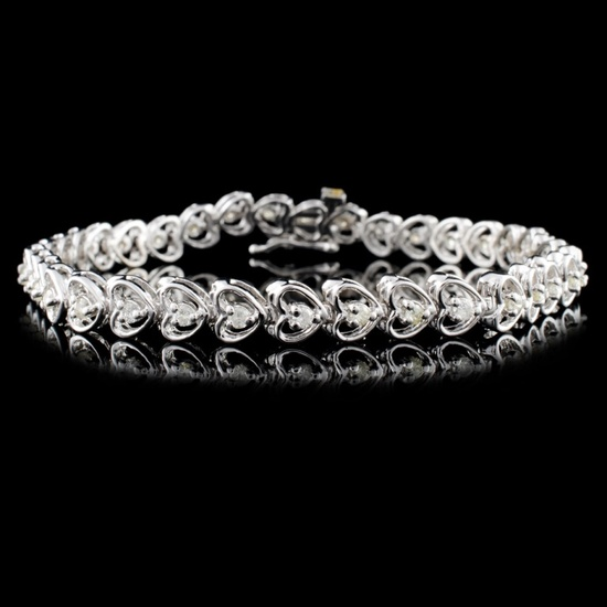 14K White Gold 1.00ctw Diamond Bracelet