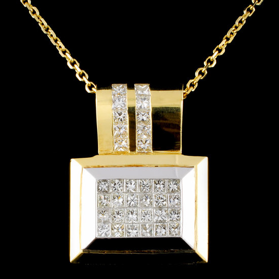 18K Gold 3.08ctw Diamond Pendant