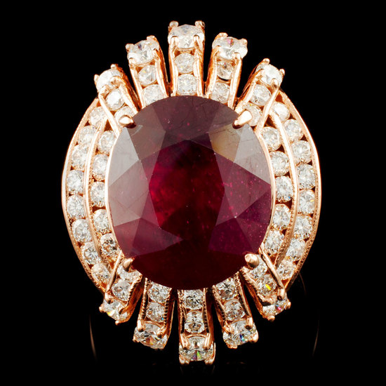 14K Gold 12.24ct Ruby & 2.02ctw Diamond Ring