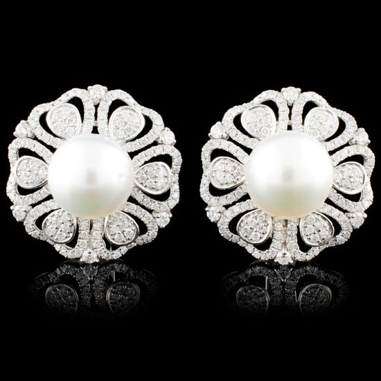 18K Gold 11MM Pearl & 2.04ctw Diamond Earrings