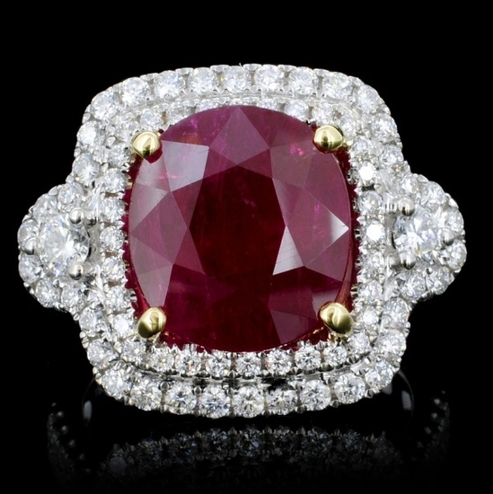 18K Gold 5.98ct Ruby & 1.10ct Diamond Ring