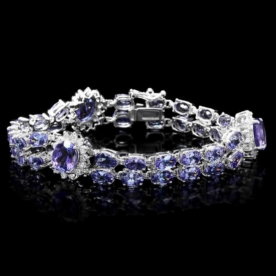 14k Gold 20.00ct Tanzanite & 1.50ct Diamond Brace
