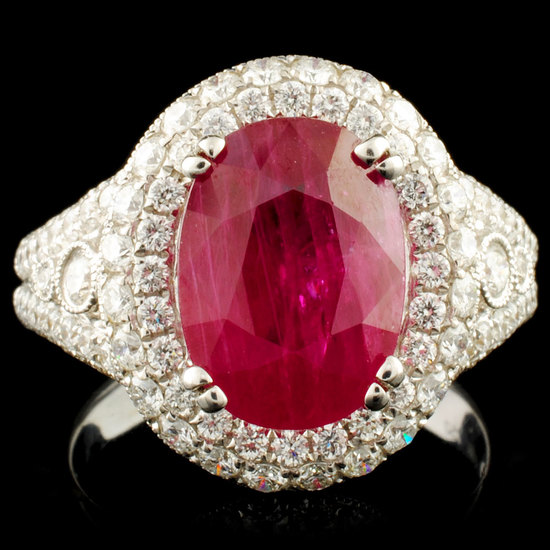 18K Gold 5.28ct Ruby & 1.39ctw Diamond Ring