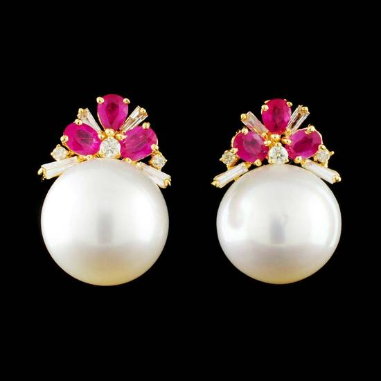 18K Gold 12.50MM Pearl & 0.35ctw Diamond Earrings