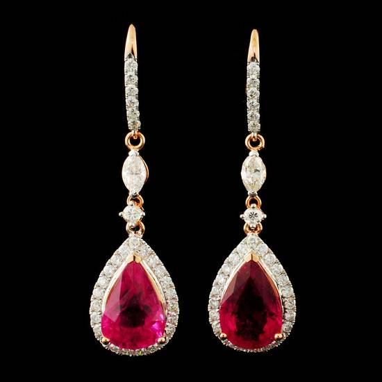 18K Gold 10.22ct Rubellite & 2.20ctw Diamond Earri