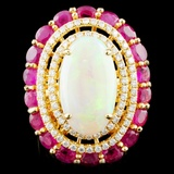 18K Gold 5.27ct Opal & 0.72ctw Diamond Ring