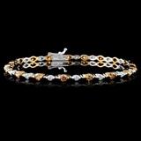 14K White Gold 2.12ctw Fancy Color Diamond Bracele