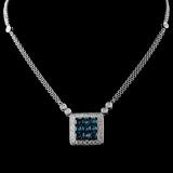 14K White Gold 1.21ctw Fancy Color Diamond Necklac