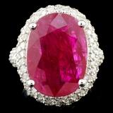 14K Gold 10.32ct Ruby & 2.40ctw Diamond Ring