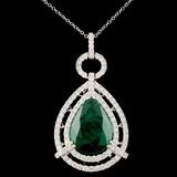 18K Gold 10.81ct Emerald 2.18ctw Diamond Pendant