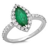 14K Gold 1.50ct Emerald & 0.55ct Diamond Ring