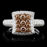 14K White Gold 1.50ctw Fancy Color Diamond Ring