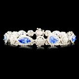 18K Gold 10.95ct Sapphire & 3.23ctw Diamond Bracel