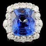18K Gold 9.28ct Sapphire & 2.70ctw Diamond Ring