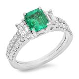 14K Gold 1.50ct Emerald & 1.10ct Diamond Ring