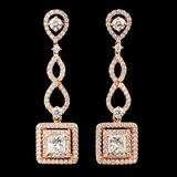 18K Rose Gold 2.58ctw Diamond Earrings