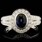 14K Gold 1.28ct Sapphire & 0.49ctw Diamond Ring