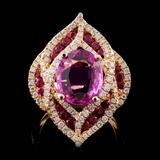 18K Rose Gold 3.00ct Sapphire & 0.82ct Diamond Rin