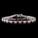 14K White Gold 3.75ct Ruby & 0.85ct Diamond Bracel