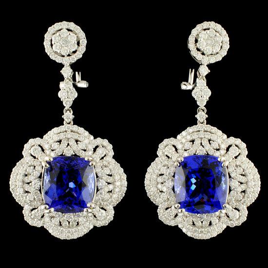 18K Gold 16.98ct Tanzanite & 4.55ctw Diamond Earri