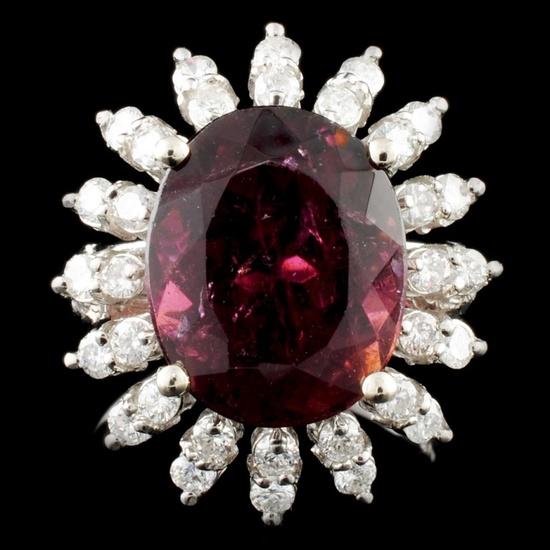 14K Gold 7.33ct Tourmaline & 0.88ctw Diamond Ring